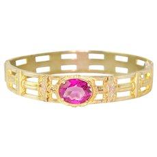 Vintage Art Deco Bracelet Pink Rhinestone 1930s Bracelet