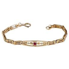 Antique Edwardian Bracelet | Pink and Rolled Gold Gate Bracelet | Antique Bracelet