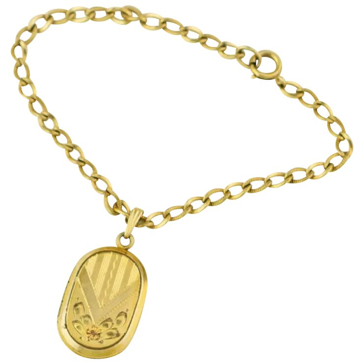 Vintage Locket Bracelet 1940s Jewelry Charm Gold