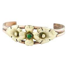 Vintage Copper Cuff Bracelet   Brass Flower Copper Bracelet