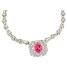 Circa 1919 Vintage Art Deco Necklace | Magenta Pink Silver | Vintage necklaces | 1920s necklace