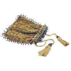 Green Silk Antique Purse |Silk Antique Beaded Purse | Antique Reticule | Edwardian Purse | Antique purses