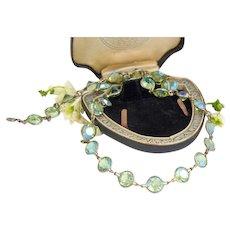 Vintage Rivière Necklace | 1920s Necklace | Opaline Green Necklace