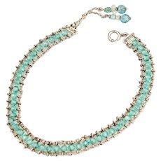Vintage 1920s Bracelet | Art Deco Bracelet | Aqua Blue Crystal Sterling Silver Bracelet