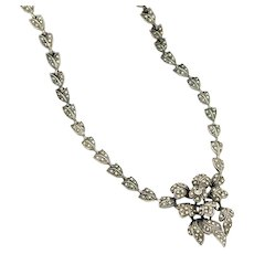 Art Deco Vintage Marcasite Necklace | 1920s Necklace | Marcasite Silver Flower Necklace