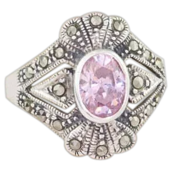 Vintage Pink Topaz Ring | Created Pink Topaz Sterling Silver and Marcasite Ring | Art Deco Style Ring