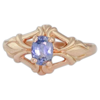 Antique 14k Gold Ring | Antique Art Nouveau Ring | Blue Zircon Ring | Antique Pinkie Ring