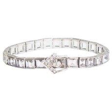 Vintage Art Deco Bracelet | Crystal Vintage Buckle Bracelet | 1920s Bracelet | Silver Crystal Bracelet | Art Deco jewelry