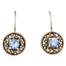 Vintage Art Deco Style Earrings Sterling Silver Marcasite Blue Topaz Earrings Vintage marcasite earrings