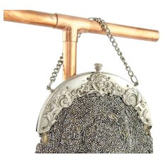 Antique Chatelaine Purse | Ornate Cherub French Cut Steel Antique Purse | Antique Victorian Purse