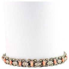 Vintage Art Deco Bracelet | 20s Bracelet | Vintage Glass Coral Bracelet | Vintage 1920s Bracelet | Vintage Silver Bracelet
