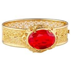 Vintage Art Deco bracelet | Red and gold filigree bracelet | Deco bangle | gold 1920s bracelet