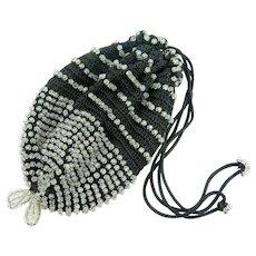 Vintage Black Crochet Handbag | Antique Black Glass Beaded Purse | Black Handbag