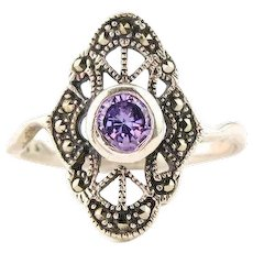 Vintage Amethyst Ring | Art Deco Style Ring | Sterling Silver Filigree Marcasite Ring | Amethyst Ring