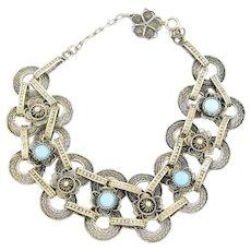 Vintage Etruscan Revival 800 Silver Bracelet | Vintage turquoise 1920s Bracelet | Italian silver filigree link bracelet