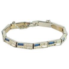 Silver and Blue Art Deco Bracelet | Vintage Rhinestone Bracelet | Art Deco Jewelry