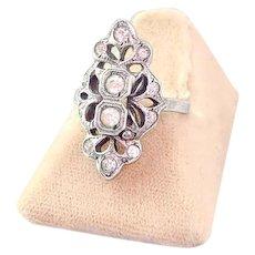 Vintage 1920s Ring   Art Deco Ring   Sterling Silver Rhinestone Filigree Ring
