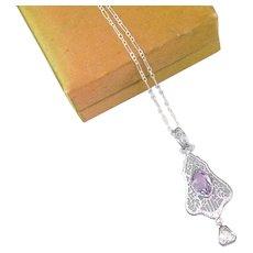 Vintage Art Deco Pendant | Purple silver pendant | 1920s Pendant necklace | Art Deco silver pendant