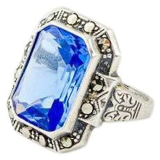 Vintage Art Deco Ring | Sterling Silver and Blue Ring | Sterling Marcasite Ring | Art Deco jewelry