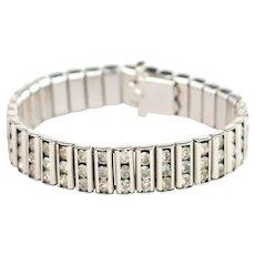 Vintage Art Deco Bracelet | 1920s Bracelet | Silver 20s Bracelet | Crystal link bracelet