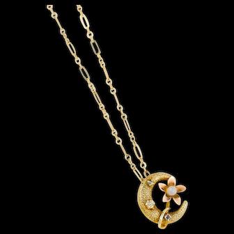 Antique 10k Gold Moon Pendant | Gold Crescent Victorian Pendant | Crescent Moon 10k Antique Pendant