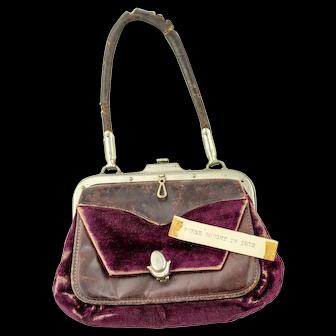 c. 1872 Antique Victorian Purse | Antique Purse | Vintage Velvet Purse | Victorian Handbag | Antique Pocketbook
