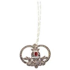 Vintage Marcasite Pendant Necklace   Sterling Silver Vintage Garnet Necklace   Garnet Silver Marcasite Pendant