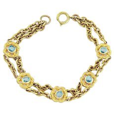 Antique 10k Gold Edwardian Bracelet | 10k Gold Bracelet | Gold Aquamarine Crystal Antique Bracelet