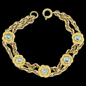 Antique 10k Gold Edwardian Bracelet | 10k Gold Bracelet | Gold Aquamarine Crystal Antique Bracelet