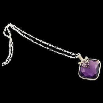 Vintage 1920s Antique Art Deco Pendant | Art Deco Purple Crystal Pendant | 1920s Silver Filigree Pendant