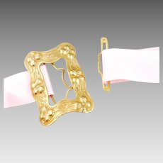 Antique Belt Buckle | Gilded Brass Butterfly Buckle | Antique Art Nouveau Buckle | 1900s Buckle | Antique Buckle