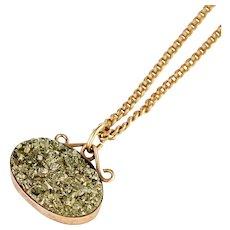 Antique Pyrite 14k Gold Pendant   14k Gold Antique Victorian Pendant    Antique Gold Pendant   Pyrite Pendant Victorian Necklace
