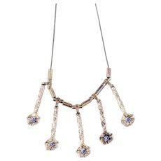 Vintage Brutalist Necklace | Sterling Silver Necklace | Blue Silver Fringe Statement Necklace
