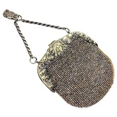 Antique Chatelaine Purse | French Cut Steel Beaded Purse | Antique Handbag | German Silver Antique Purse