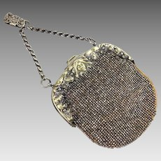 Antique Chatelaine Purse | French Cut Steel Beaded Purse | Antique Handbag | German Silver Antique Purse