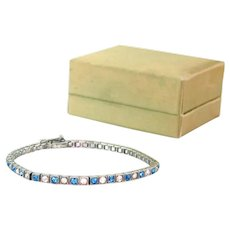 Vintage Art Deco sterling bracelet | silver and blue Art Deco bracelet | 1920s bracelet