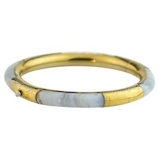 Antique Victorian Blue Agate Bracelet | Sterling silver and Gilded gold bangle bracelet | Antique bracelet | Chinese Export