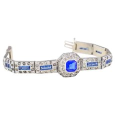 Vintage Art Deco Bracelet   Blue Rhinestone Bracelet   1920s Bracelet