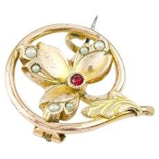Vintage Antique 14k Gold Brooch Tri Gold Flower Red Spinel Seed Pearl 14k Victorian Brooch