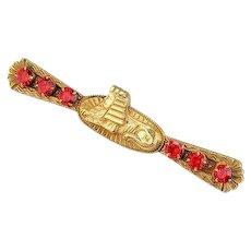 Vintage Egyptian Revival Brooch | 1910s Brooch | Sphinx Bar Pin | Egyptian Revival Jewelry | Egyptian Jewelry