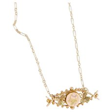 9k Gold Antique Victorian Pendant | Antique Rose Necklace | Antique Gold Victorian Necklace