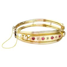 Antique 14k Gold Bangle Bracelet | Antique Ruby Diamond Bracelet | 14k Gold Victorian Bracelet