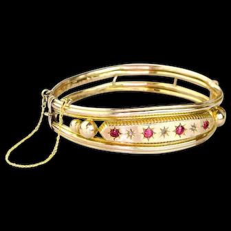 Antique 14k Gold Bangle Bracelet   Antique Ruby Diamond Bracelet   14k Gold Victorian Bracelet