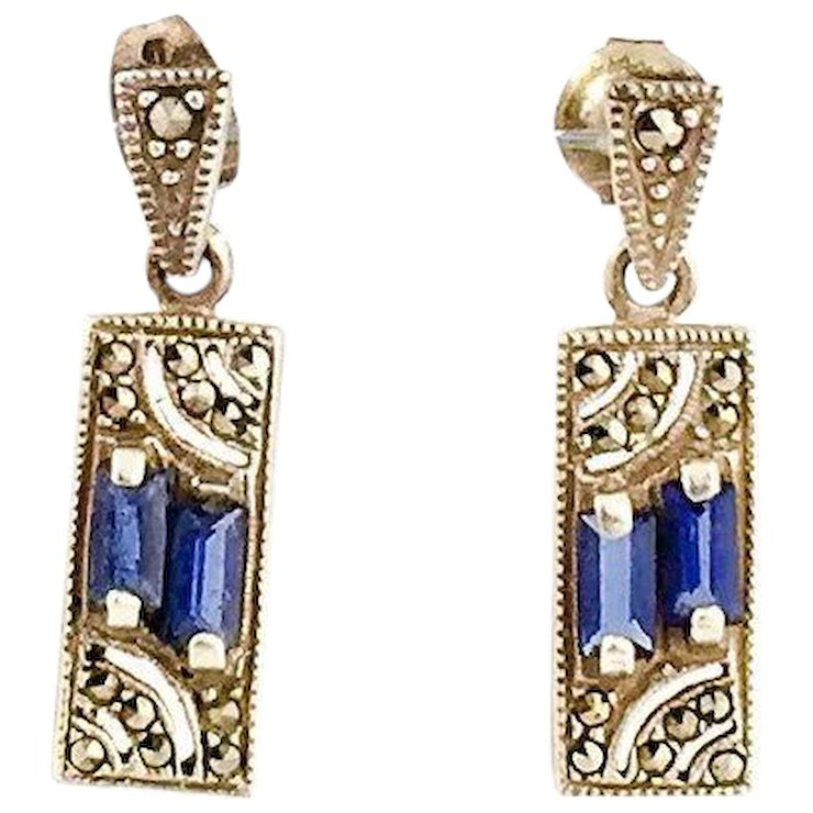 Vintage Blue And Silver Marcasite Earrings Drop Art Deco Style Sterling