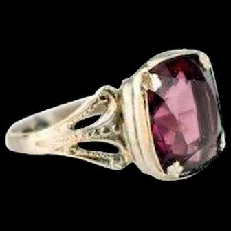 Vintage Art Deco Purple Ring   1920s Ring   Purple Art Deco Ring   Art Deco Silver Ring   1920s jewelry