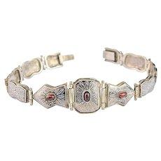 Vintage Garnet Bracelet | Sterling Silver Amethyst Bracelet |  Silver Bracelet | Niello Bracelet | Arabesque
