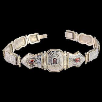 Vintage Garnet Bracelet   Sterling Silver Amethyst Bracelet    Silver Bracelet   Niello Bracelet   Arabesque