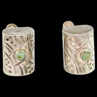 Vintage Modernist Earrings   Cubist 1940s Earrings   Taxco Silver Turquoise Earrings   Screw back silver earrings