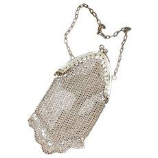 Antique Wristlet | Antique Sterling Silver Mesh Purse | Chainmail Purse | Silver Mesh Antique Purse | Chatelaine Purse