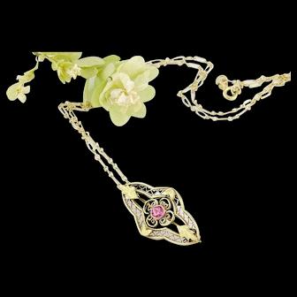 Edwardian 10k Gold Pendant Necklace   Pink Stone 10k Gold Brooch Pendant   Edwardian Jewelry